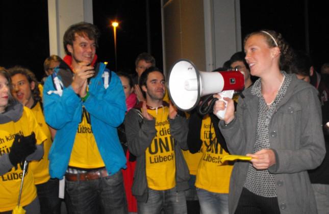 Lübeck kämpft protestiert anlässlich der Wahl von Jost de jager zum Spitzenkandidaten der CDU.