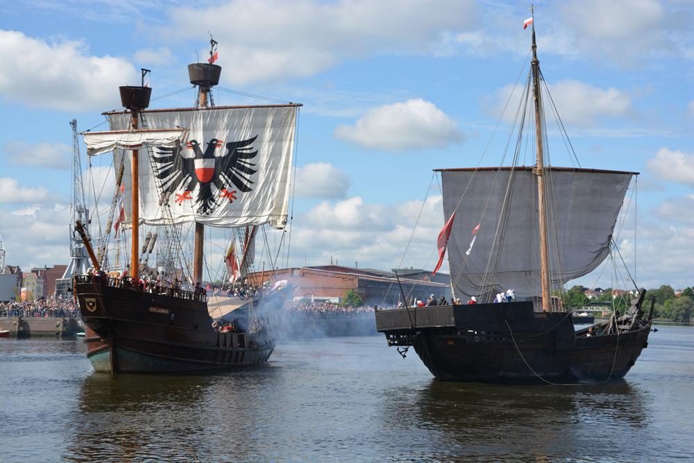 Die Seeschlacht im Lübecker Hafen - ein Highlight des Hansetags.