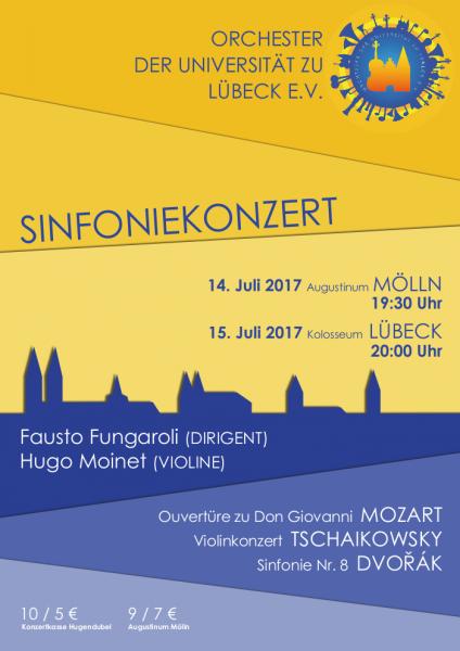 Plakat zu den Konzerten des Orchesters der Universität am 14./15. Juli 2017.