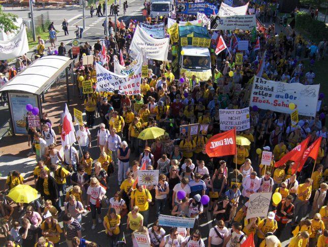 Proteste zum Erhalt der Uni Lübeck 2010